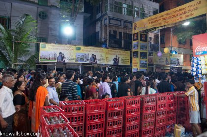 People thronging to one of the Pandals