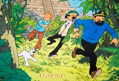Tintin with his friends, Captain Haddock and Professor Calculus