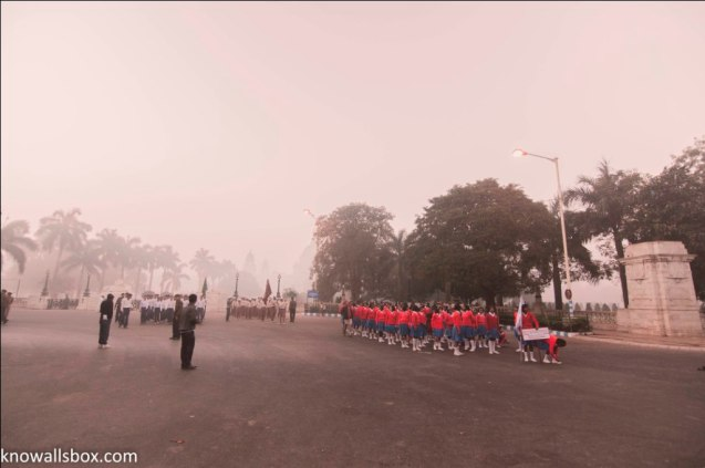 Hundreds of school-chidren brave the morning chill to come for the practice everyday