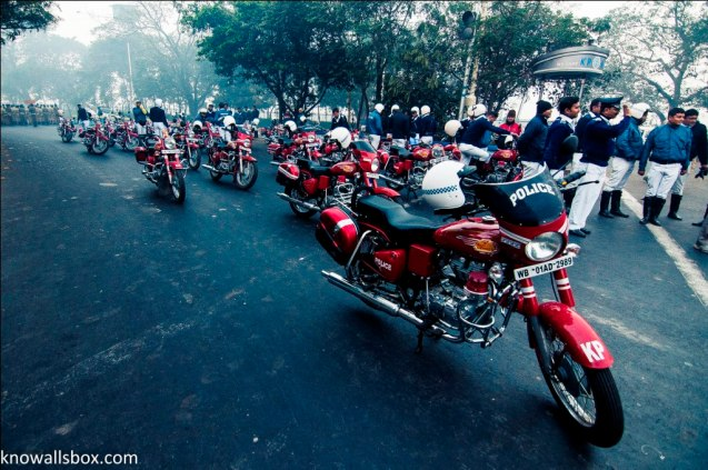 Red Royal Enfield bikes are the signature of Kolkata Police...and they really look commanding in these!